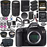 Canon EOS 5DS 5D S DSLR Camera + Canon EF 24-70mm f/2.8L II USM Lens 5175B002 + Canon EF 75-300mm III Lens + LPE-6 Lithium Ion Battery + External Rapid Charger + Sony 128GB SDXC Card Bundle