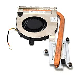 """2FW2C Dell Inspiron 14 / 15 5000 Series Laptop UMA Heatsink Fan Assy AT1GG01FF0 CPU Cooling DC5V Fan 5.2CFM .5A FCN DFS541105FC0T with 3Pin 3Wire 2"""" Cbl Copper Thermal Management Heat Control WYN50"""