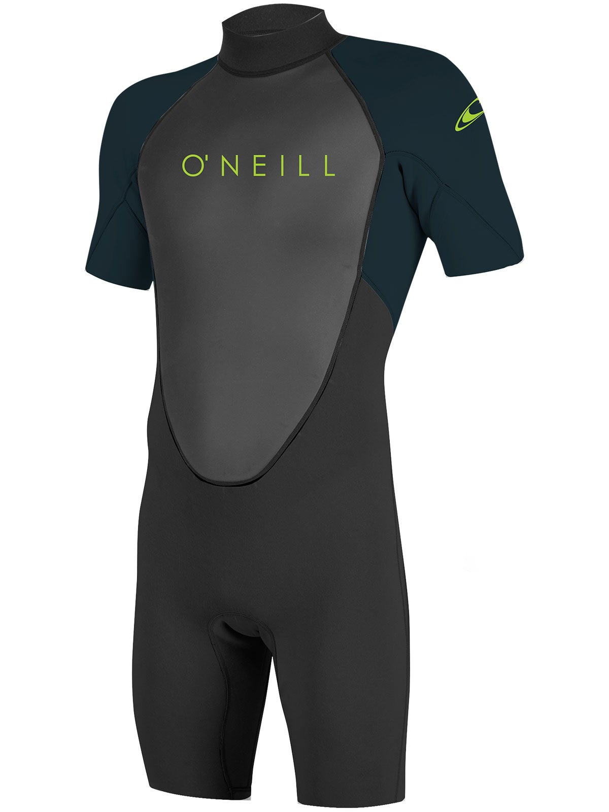 O'Neill Youth Reactor-2 2mm Back Zip Short Sleeve Spring Wetsuit, Black/Slate, 4 by O'Neill Wetsuits