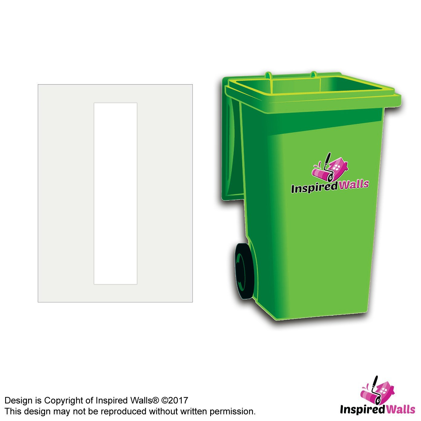 4 x Letter I White Wheelie Bin Sticker Vinyl Decal Sticker by Inspired Walls®