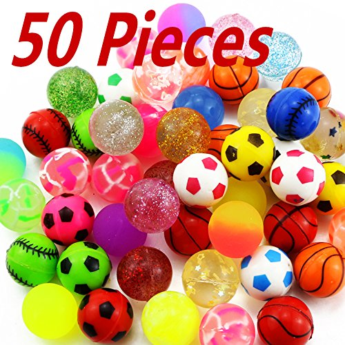 Bounce Balls Party Favors - Bignc Bouncy Balls Bulk Set - Assorted Colorful Neon Bright Solid Colors - High Bouncing Balls Bulk - for Kids Playtime, Party Favors, Prizes, Birthdays & More! - Pack of 50, 2.5cm