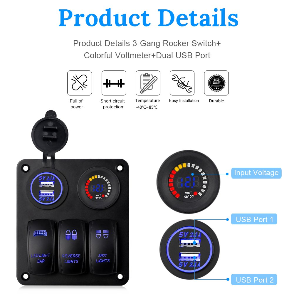 6-Way WATERWICH 6-Way Blade Fuse Box Standard Circuit Fuse Holder Box Block DC 12-32V with Waterproof Protection Cover For Car Boat Marine Trike Auto Car Truck Vehicle SUVS Yacht RV Ship