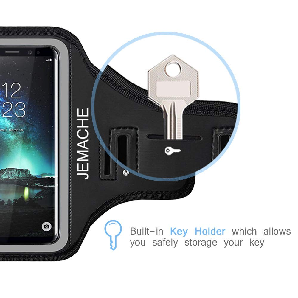 Galaxy S10/S9/S8 Armband, JEMACHE Gym Run/Jog/Exercise Workout Arm Band for Samsung Galaxy S10/S9/S8/S7 Edge with Key/Card Holder (Black) by JEMACHE (Image #8)
