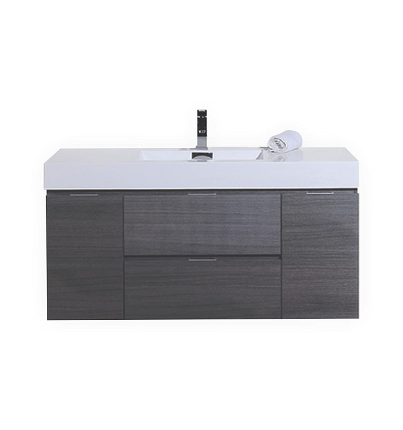 Gray Oak Wall Mount Single Sink Modern Bathroom Vanity: Home U0026 Kitchen