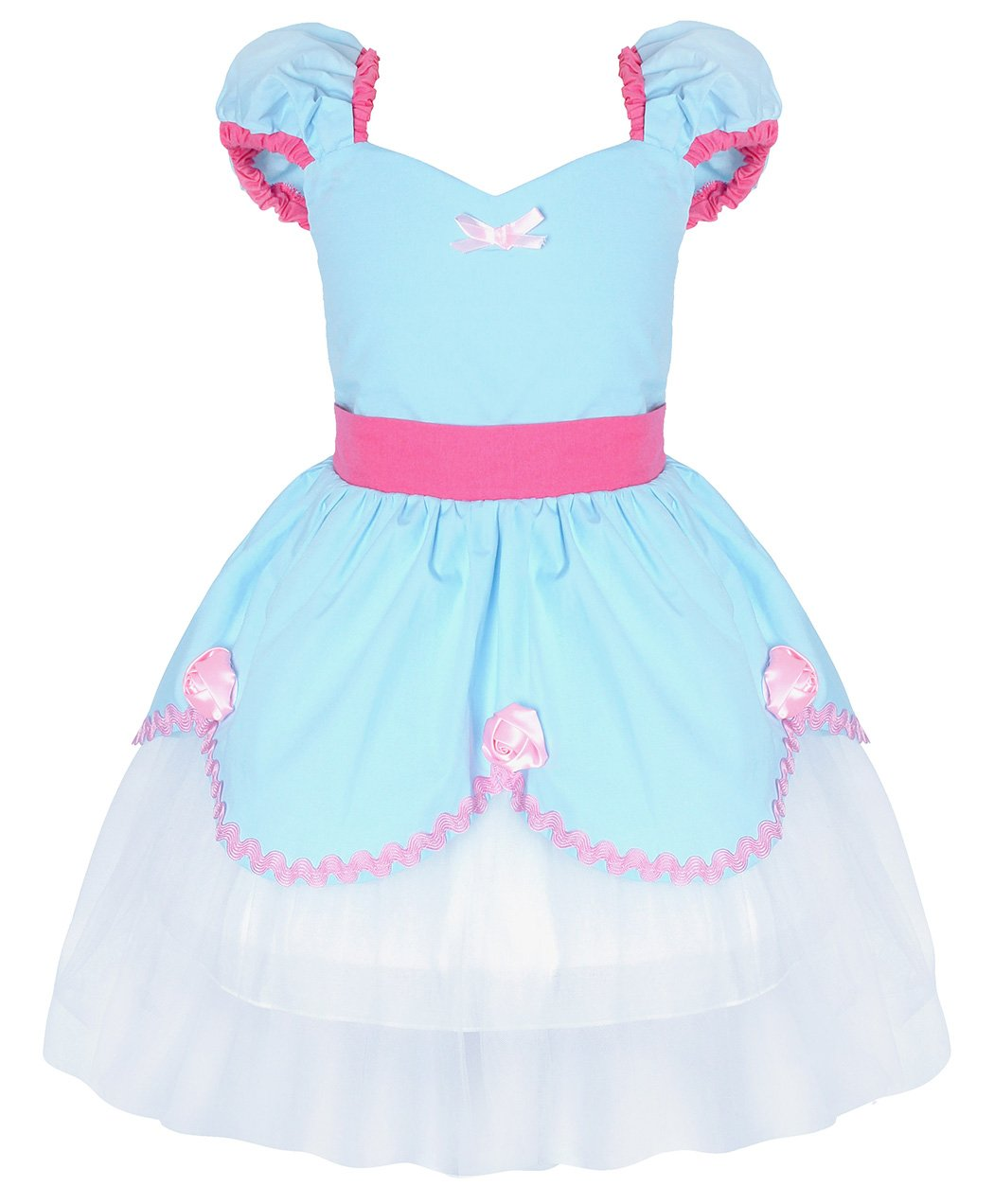 Cotrio Baby Girls Princess Cinderella Dress up Costumes Birthday Them Party Dresses Size 2T (90, Blue Cinderella)