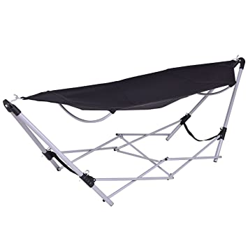 giantex portable folding hammock lounge camping bed steel frame stand wcarry bag black