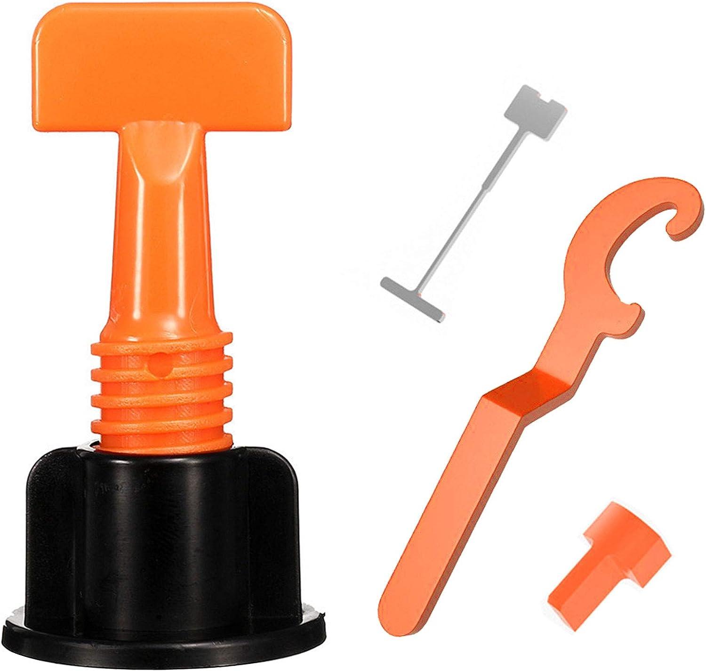 Kit de sistema de nivelación de azulejos, reutilizable, en forma de T, espaciador ajustable con llave especial para cerámica, herramientas de bricolaje