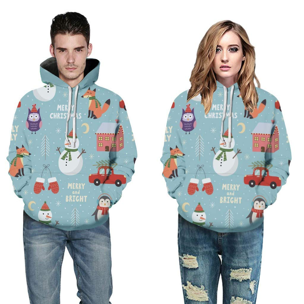 ERLOU Women's Couple Long Sleeve Christmas Print Pullover Loose Casual Top Hoodies Sweatshirts Blouses (Blue, S) by ERLOU Christmas
