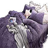 Lotus Karen Shaggy Flannel Girl Bedding Set Warm Thick Coral Fleece Princess Bed Set Solid Purple Gray Winter Faux Fur Bedding for Girls 4PC Including 1Duvet Cover,1Bed Skirt,2Pillowcases