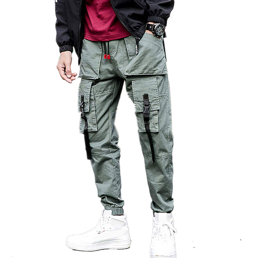 Men's Summer Casual Tooling Pant 6 Pocket Solid Drawstring Classic Closed-Bottom Trousers (L, Green)