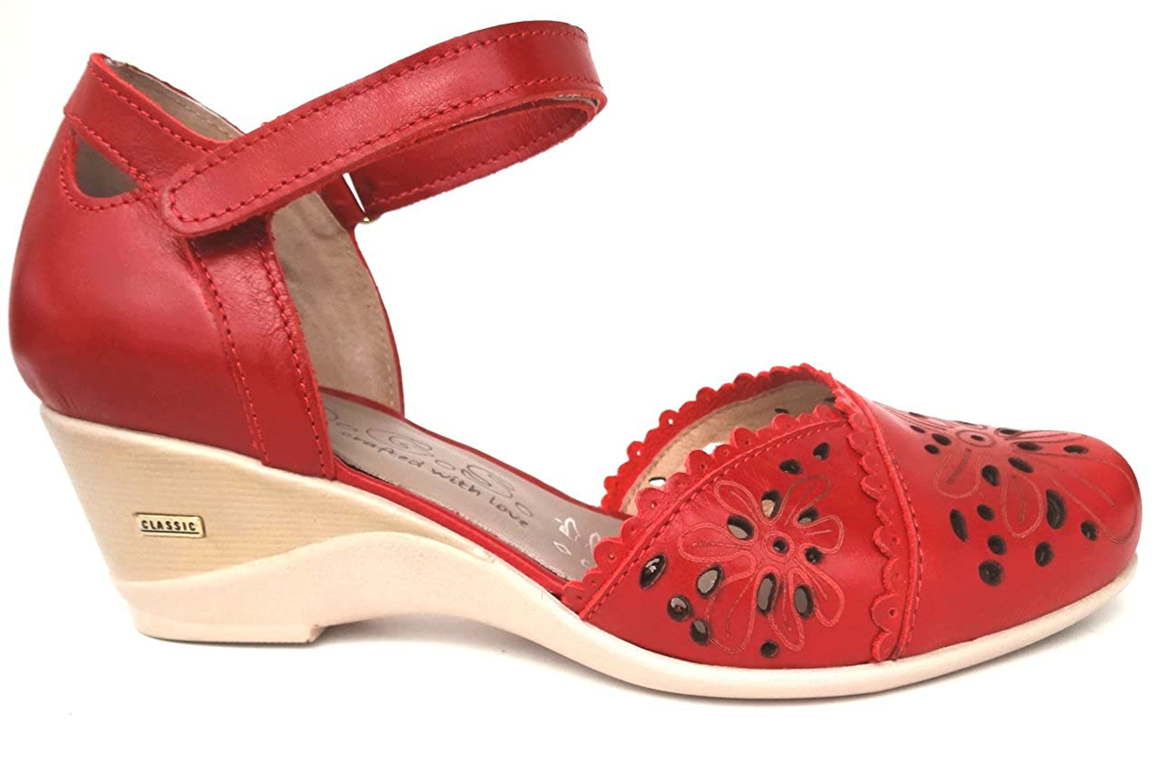 OGSwideshoes Giulia Red Extra Wide Fit Sandal 3E C D Width XXW
