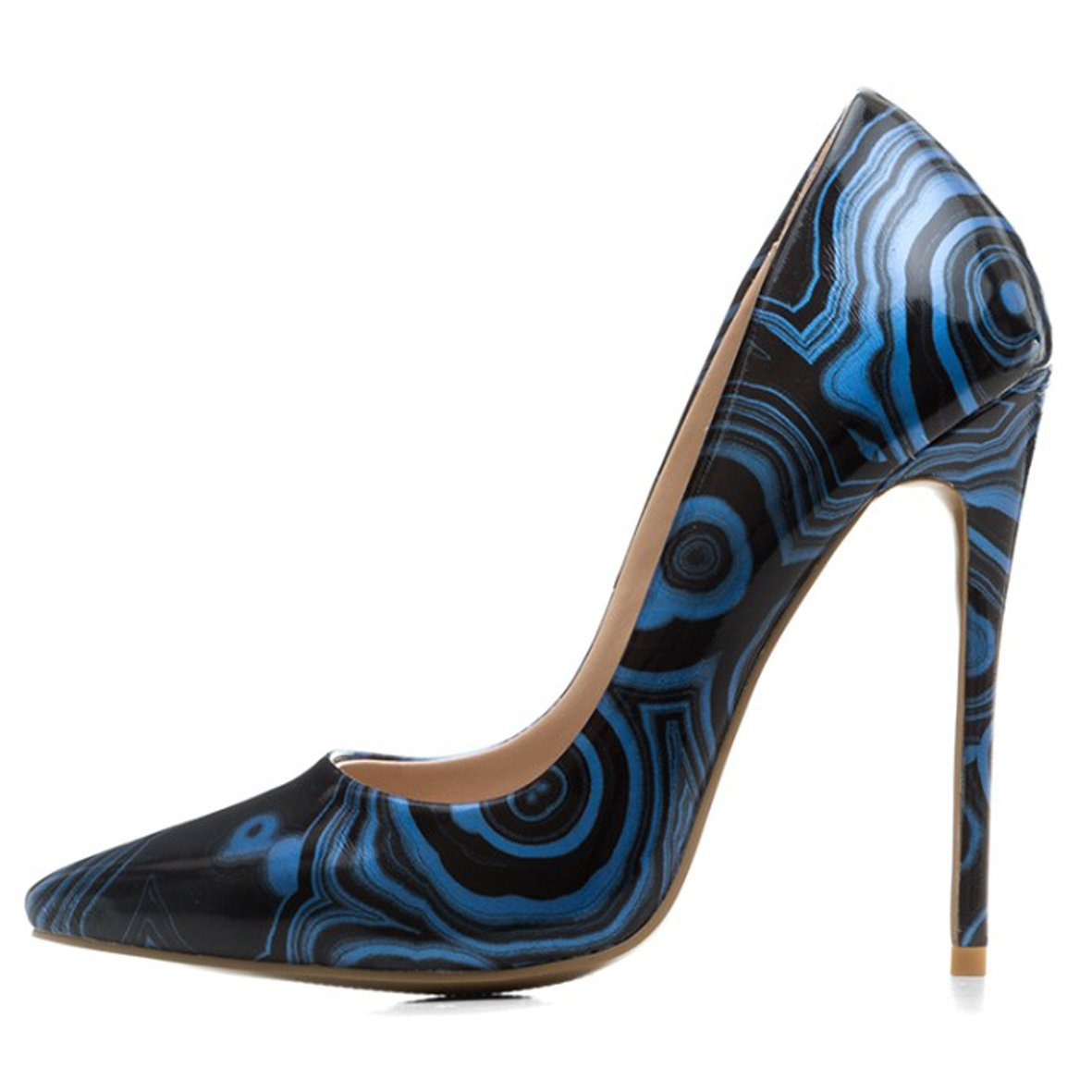 Chris-T Womens Formal Pointed Toe Pumps Basic Shoes High Heel Stilettos Sexy Slip On Dress Shoes Size 4-15 US B07DCM9MGS 11 B(M) US|Blue Patternt/Red B0tt*m