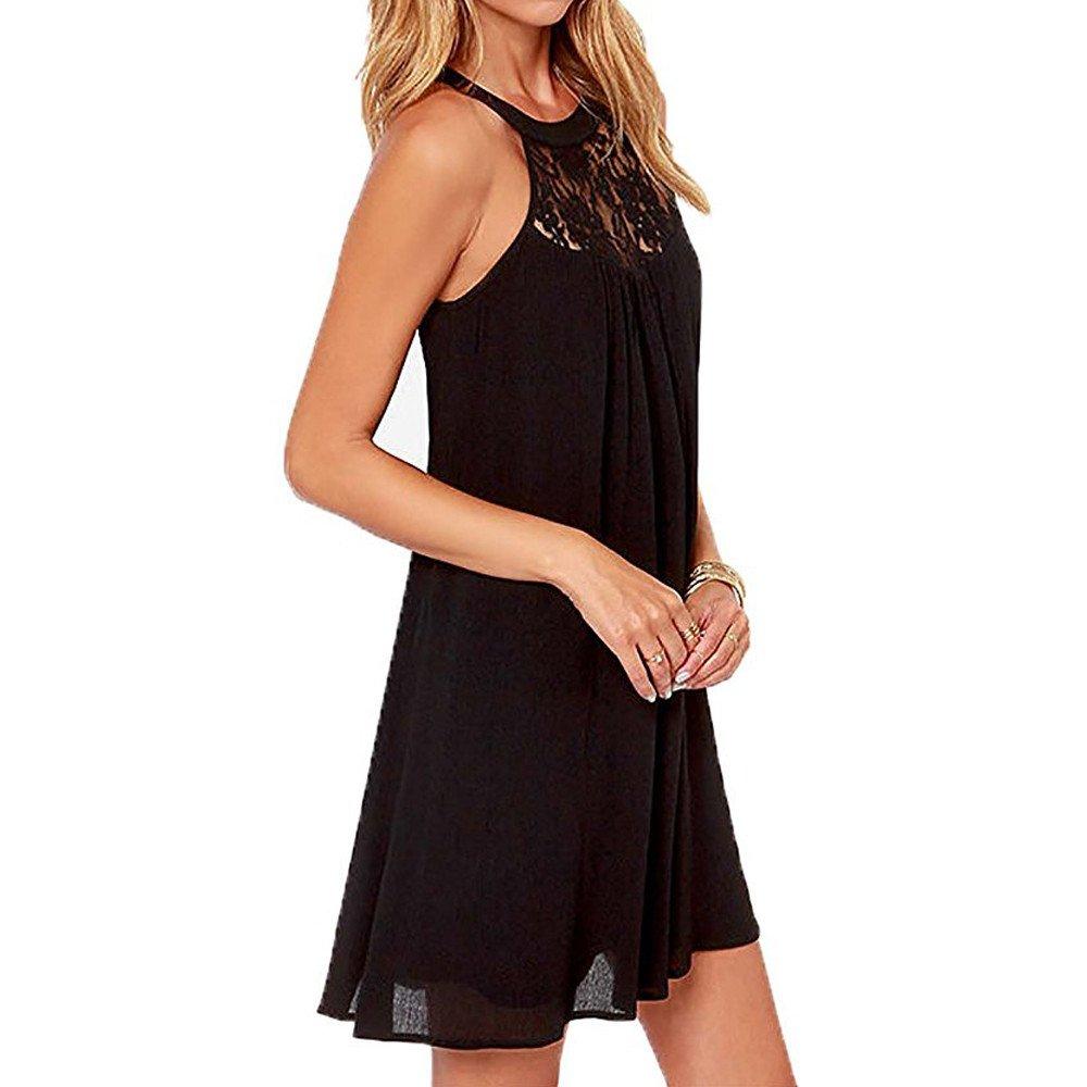 Womens Summer O-Neck Lace Patchwork Chiffon Sleeveless A-line Loose Tunic Dress