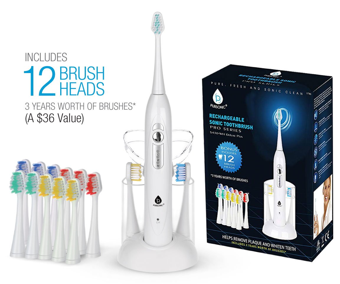 Pursonic S420 High Power Rechargeable Sonic Toothbrush With 12 Brush Heads & a Storage Charger (White)