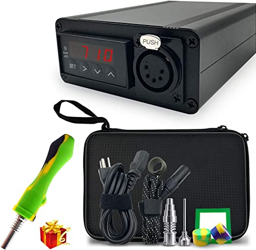 Digital Temperature Controller with 5ft Kevlar Wrapped 20MM Inner Diameter Heater Coil Titanium Accessories Included Black