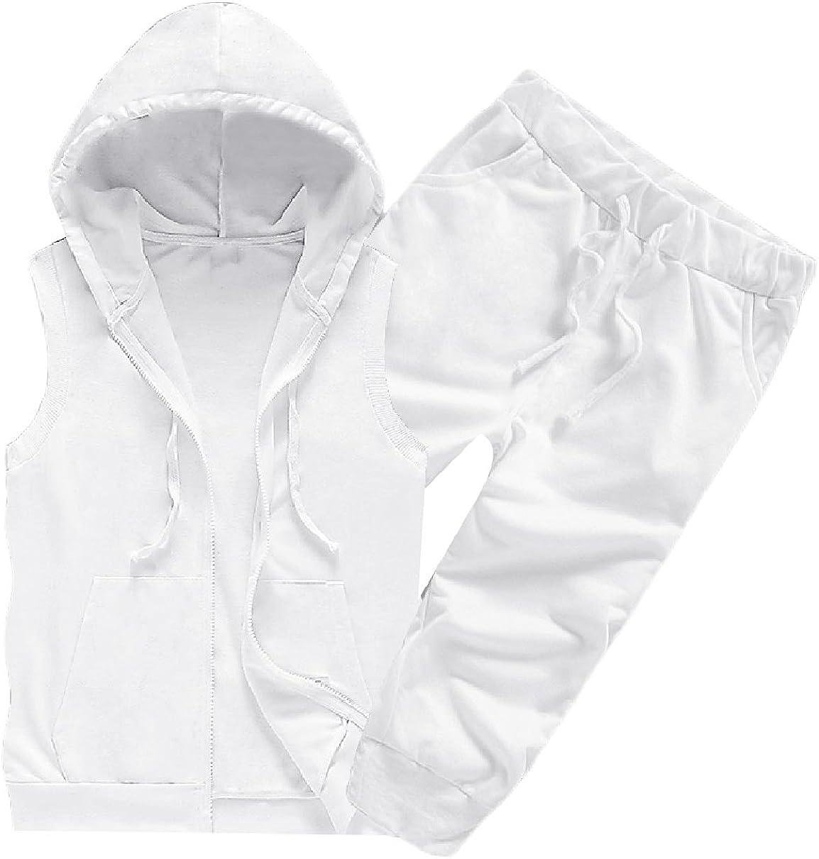 Howme Mens 2 Piece Set Hoode Half Pants Tank Fashion Sleeveless Sweatsuit