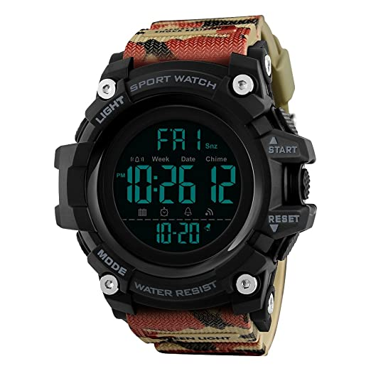 Étanche Digital Feiwen Militaires Outdoor Homme 50m Cadran Grand Led Ygf7b6y