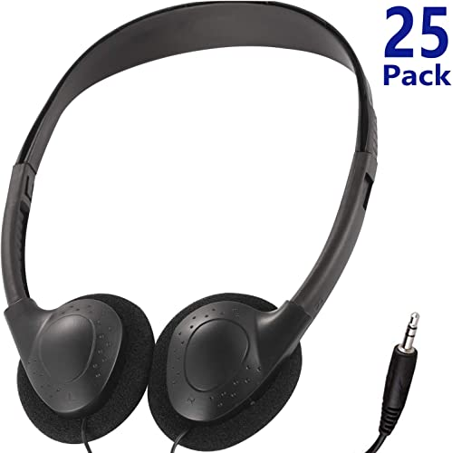 Bulk Headphones Earphone Earbud for Classroom Kids,HONGZAN Wholesale 25 Pack Over The Head Low Cost Headphones in Bulk Perfect for Schools,Libraries,Museums,Hotels,Hospitals,Gym and More Black