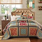 DaDa Bedding VE-Jhw-546-K Lavishly Bohemian Patchwork Quilted Bedspread Set, King, Multicolored