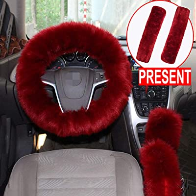 Forala 1 Set 5 Pcs Car Steering Wheel Cover & Handbrake Cover & Gear Shift Cover Set & Seat Belt Shoulder Pads Faux Wool Warm Winter (Wine Red) (Wine Red): Automotive [5Bkhe1000234]