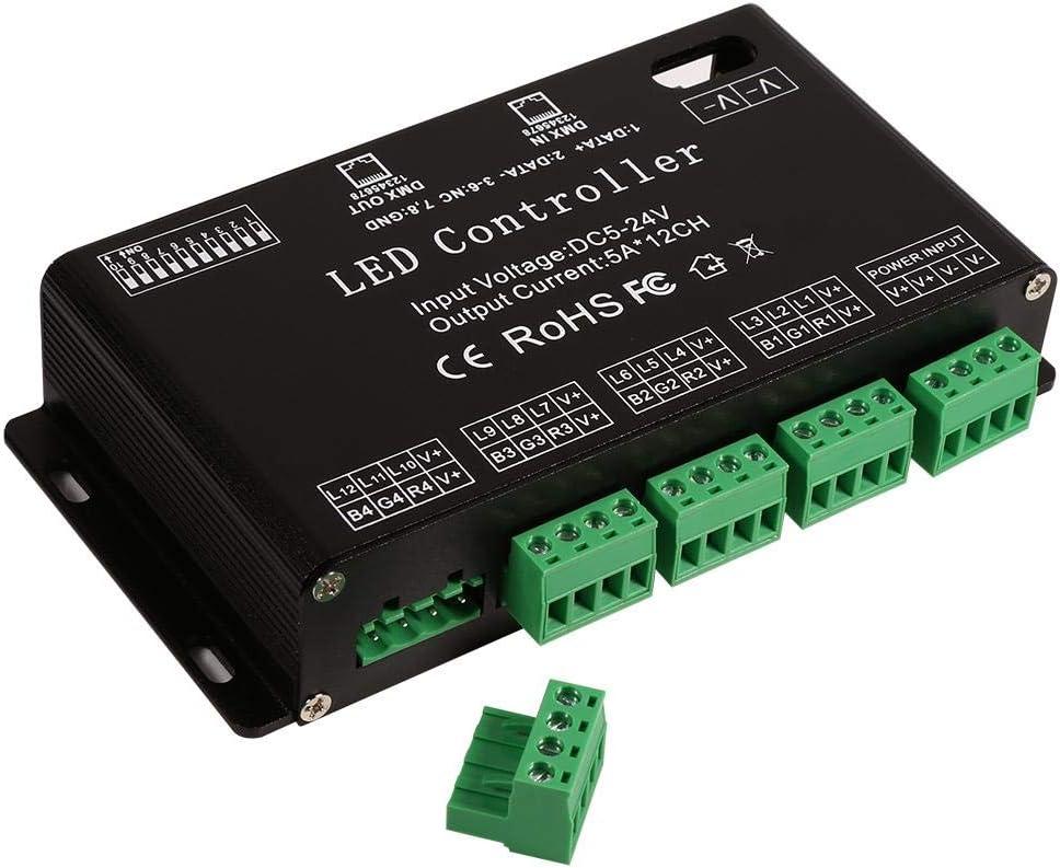 Oumij DMX LED Decoder-DC5V-24V Controlador LED RGB de 6 Canales DMX Decoder Driver Strip Module Color Negro