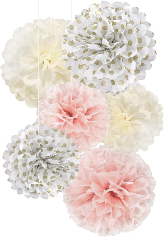 20pcs Abseed 20 St/ück seidenpapier pompoms wei/ß creme pink Tissue Dekoration