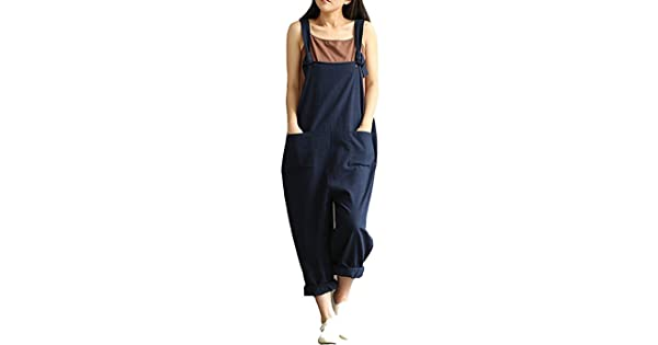 e90d85545cb comYAELUCKY Women Cotton Linen Overalls Adjustable Strap Pattern Sleeveless  Jumpsuit With Pockets