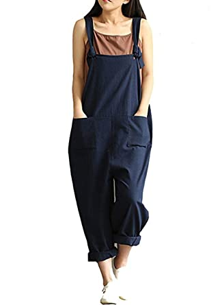 8c4ad07da35 Women s Casual Jumpsuits Overalls Baggy Bib Pants Plus Size Wide Leg  Rompers (S