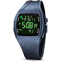 READ Reloj Digital Deportivos, 3D Podómetro Digital Pantalla de Tiempo Alarma Cronómetro Datos de 7 días con luz Negra…
