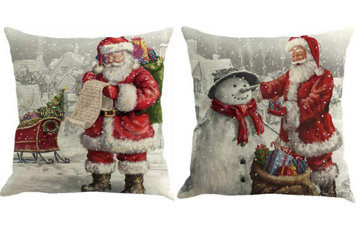 Foozoup Merry Christmas Throw Pillowcase Santa Claus Home Decor Cushion Cover for Sofa Couch (Set of 2)