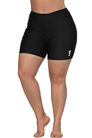 7ef67bab93 Amazon.com  anfilia Women Plus Size Swim Shorts Boyleg Swimsuit Bottoms  Ruched Board Shorts  Clothing
