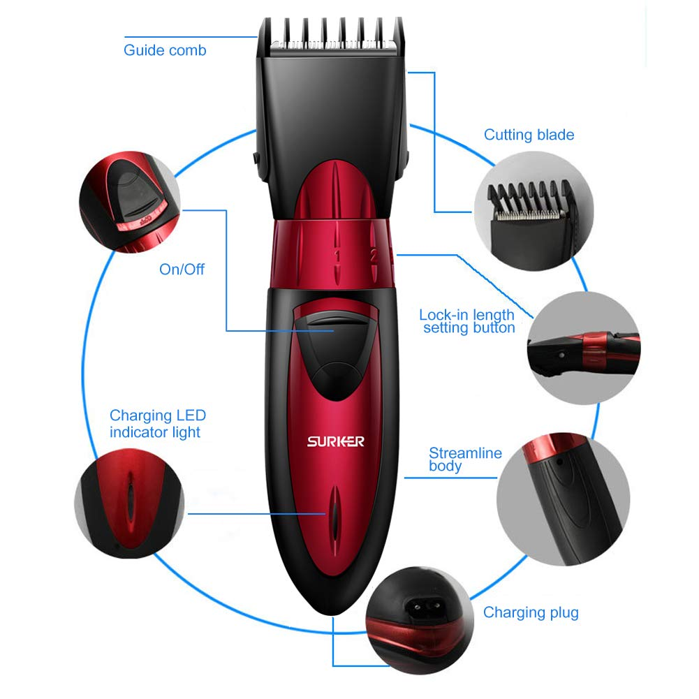 Surker Hair Clipper For Men Waterproof Professional Hair Cutting Kit Cordless Rechargeable Hair Beard Trimmer With Attachments For Father Husband Boyfriend