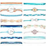 16 Pieces Wave Rope Bracelet Set Handmade Waterproof Wax Coated Adjustable Woven Shell Strand Bracelet for Women