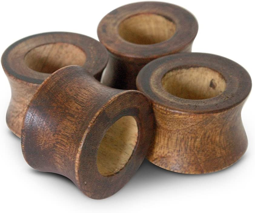 4, Walnut Brown Set of 4 Packed in Exquisite Box Classic Wood Napkin Rings You are Likely to Find in Moms Attic Vintage Distressed Walnut Finish