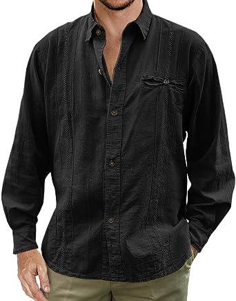 Enjoybuy Camisas de Lino mexicanas Estilo Campamento Cubano para Hombre, con Botones - - XX-Large: Amazon.es: Ropa y accesorios