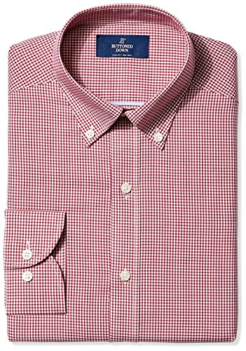 buttoned-down-mens-non-iron-slim-fit-button-collar-dress-shirt-burgundy-small-gingham-16-neck-32-sle