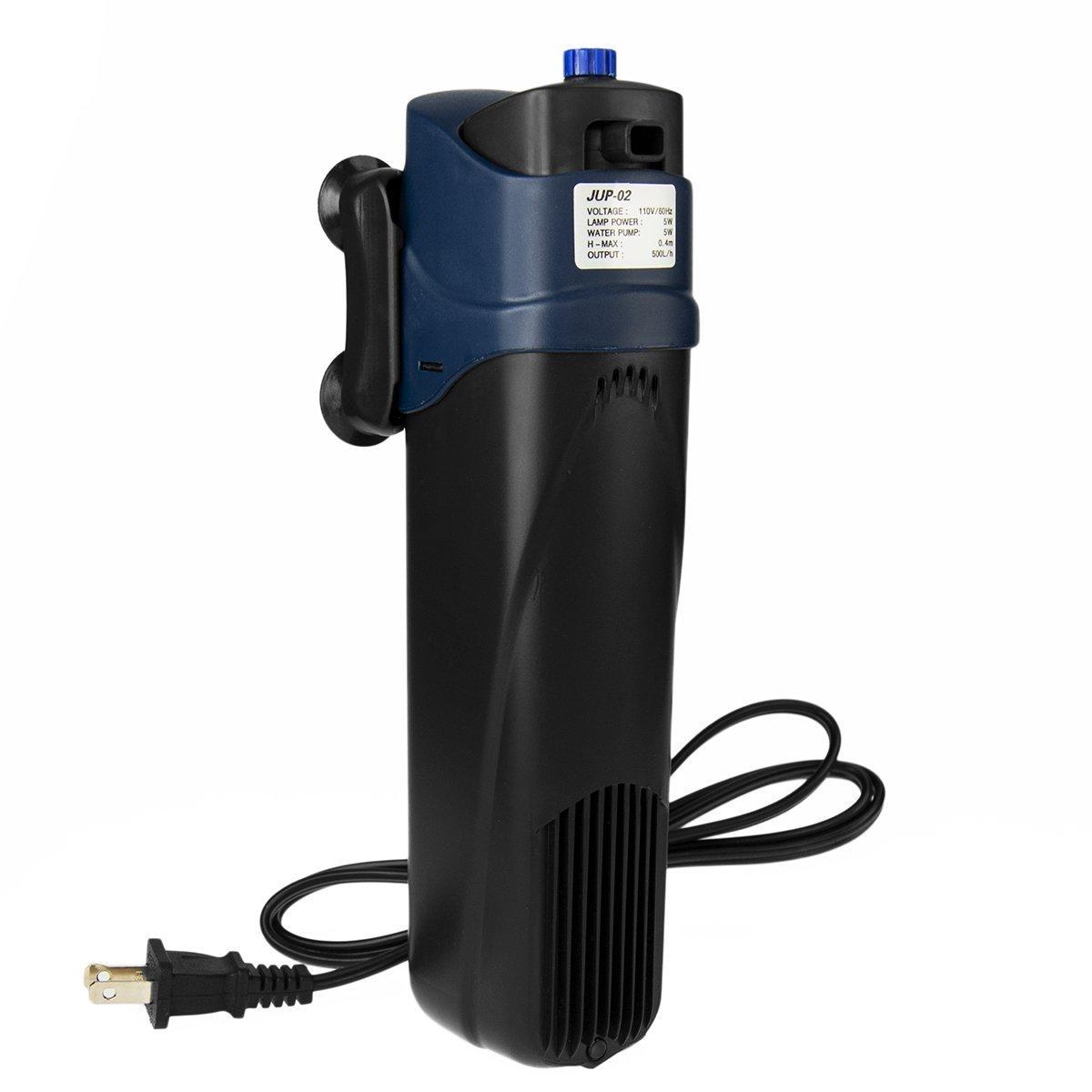 SUN Jup-02 5W Uv Sterilizer Submersible Filter Pump for Aquarium, 40 gal