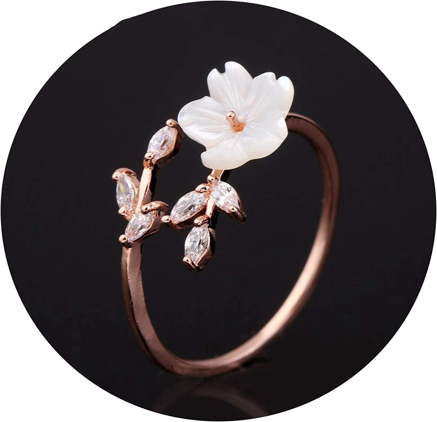 size 7.5 Delicate Crystal Flower Ring