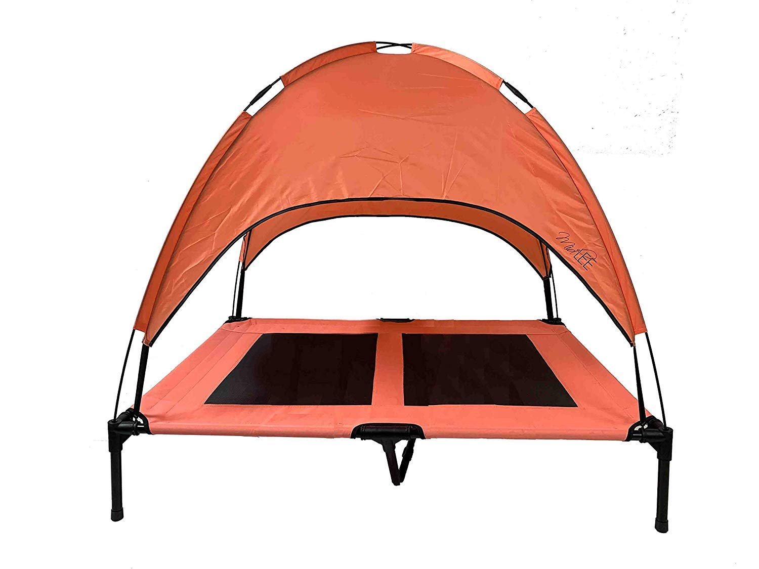 Midlee Dog Cot with Canopy Raised Pet Bed- Salmon