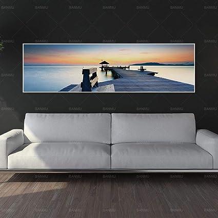 NIMCG Seaside Landscape Mural Canvas Painting Paisajes Impresiones y Carteles Living Room Decoration Painting (sin Marco) A1 50x175CM: Amazon.es: Hogar