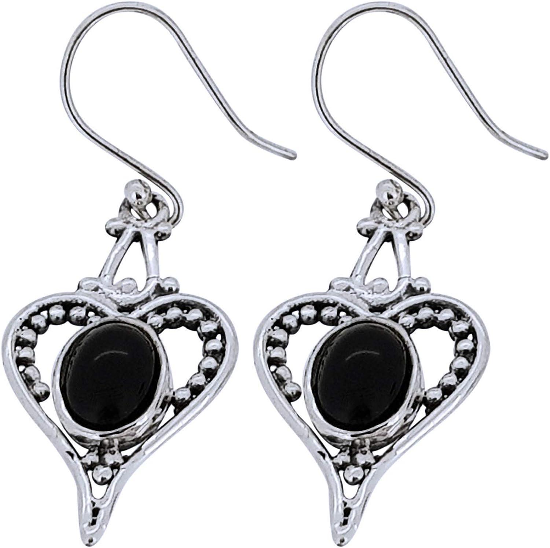 TreasureBay - Pendientes colgantes de plata de ley 925 con forma de corazón para mujer