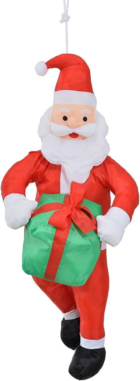 LD Navidad decoración Papá Noel AM cuerda 90 cm decorativa navideña Navidad Papá Noel Escalera Figura: Amazon.es: Jardín