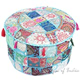 Eyes of India 22 X 12 Blue Round Pouf Pouffe Ottoman Cover Floor Seating Bohemian Boho Indian Decorative