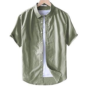Ahonmen 綿麻シャツ 半袖 メンズ リネンシャツ 綿麻窮屈感ゼロ カジュアルシャツ フィット感 開襟シャツ 通気快適 おしゃれ シンプル 無地 通勤/学シャツ 5色・M-4L(アーミーグリーン M)