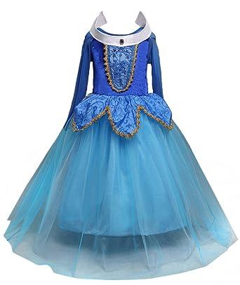 8bb83103c246c Brinny Fille-Robe Princesse pour enfant-Costume de Conte de fée-déguisement  Robe en Tulle avec paillette et ornement dorés-Tenue cosplay Halloween Noël  ...
