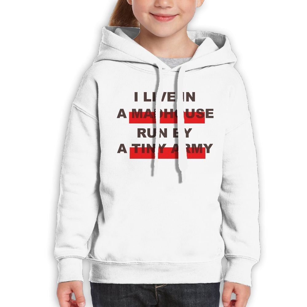 DTMN7 Live In A Madhouse Run by A Tiny Army Funniest Printed Crew-Neck Sweatshirt For Girl Spring Autumn Winter