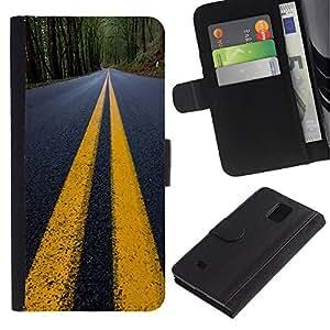 UNIQCASE - Samsung Galaxy Note 4 SM-N910 - Yellow Lines Road Close Up Tarmac - Cuero PU Delgado caso cubierta Shell Armor Funda Case Cover