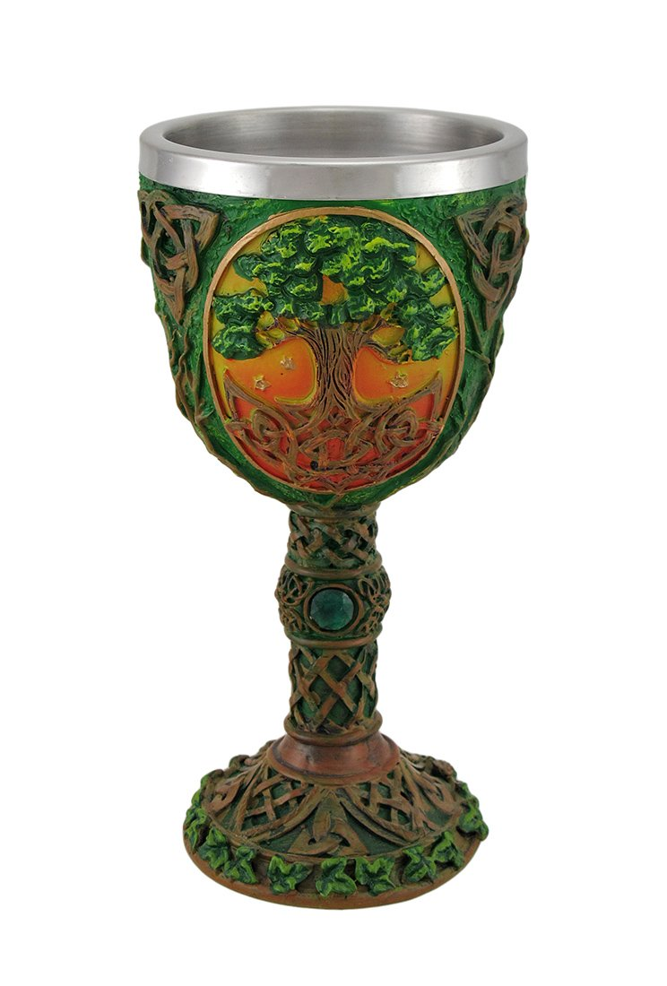 Resin Goblets Tree Of Life Celtic Knotwork Chalice W/Stainless Steel Insert 3.75 X 7.5 X 3.75 Inches Multicolored
