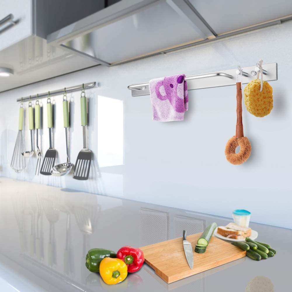 Aluminum Bad Handtuchstange f/ür 2 Handt/ücher und Mehr Bathroom Accessories Wandmontage Geb/ürstet 40 Cm DeYoun Handtuchhalter mit 2 Haken
