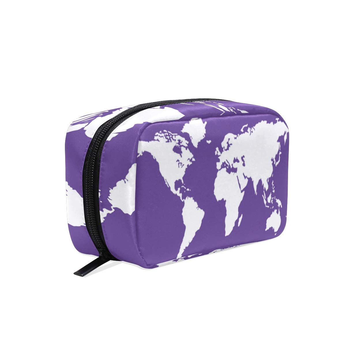 Cosmetic Bag Purple World Maps Customized Makeup Bags Square Organizer Portable Pouch Pencil Storage Case for Women